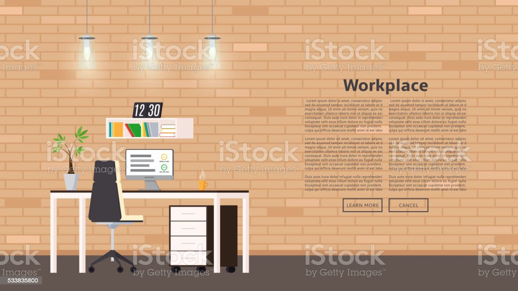 Web banner with workplace in flat style royalty-free stock vector art