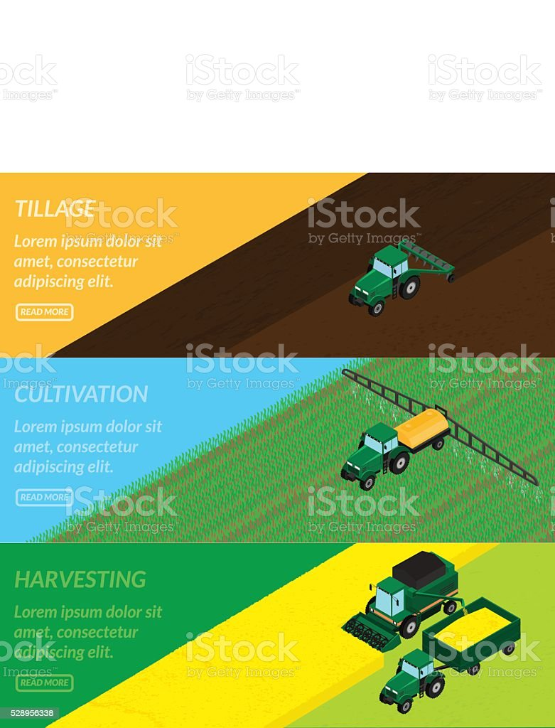 Web banners agriculture. vector art illustration