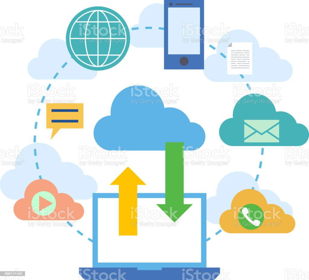 Web banners for cloud computing services and technology, data storage. vector art illustration