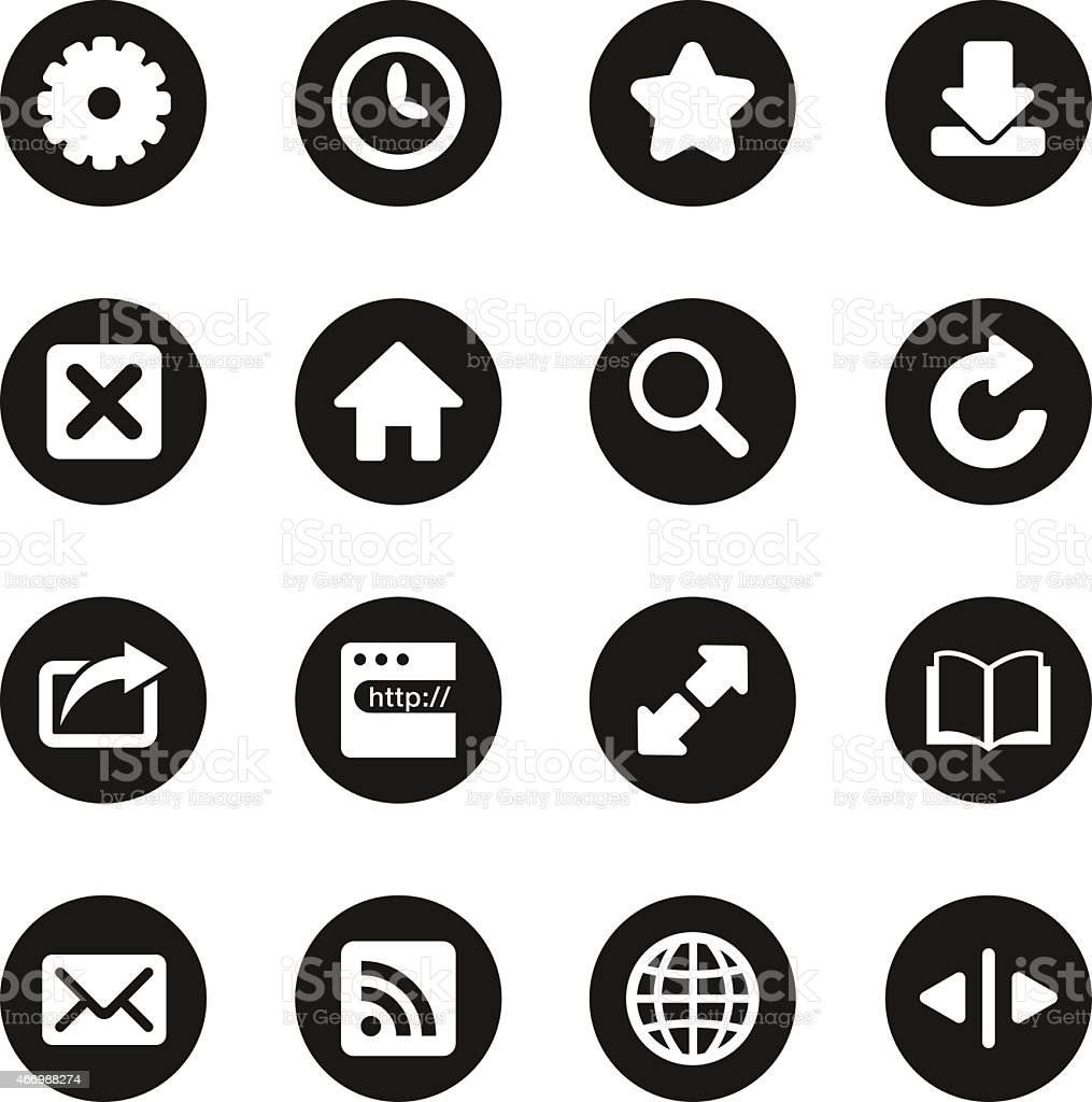 Web Browser and Intenet Icons - Black Circle Series vector art illustration