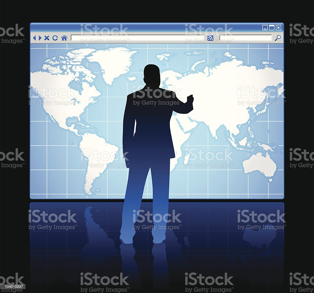 Web browser internet concept with world map royalty-free stock vector art