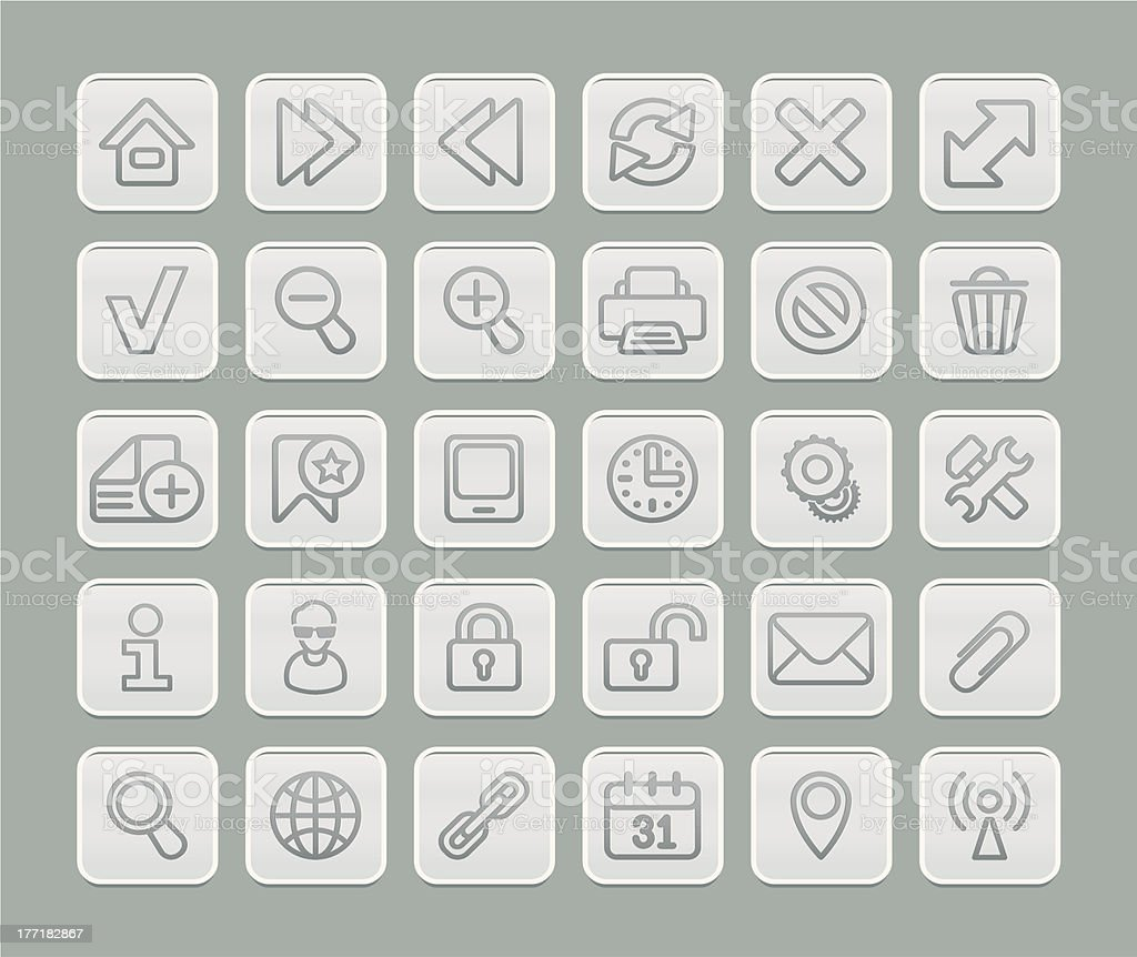 Web Browsing Icons Set Soft Gray Edition royalty-free stock vector art