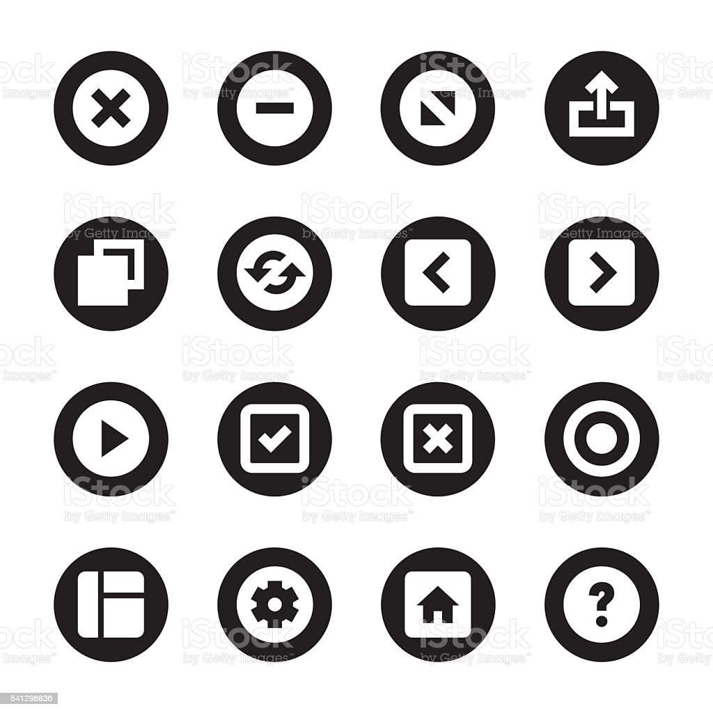 Web Button Icons - Black Circle Series vector art illustration