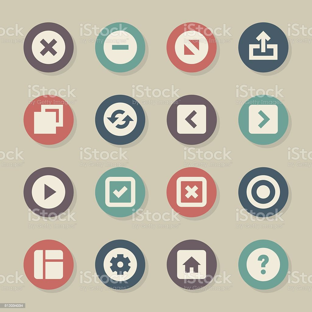 Web Button Icons - Color Circle Series vector art illustration