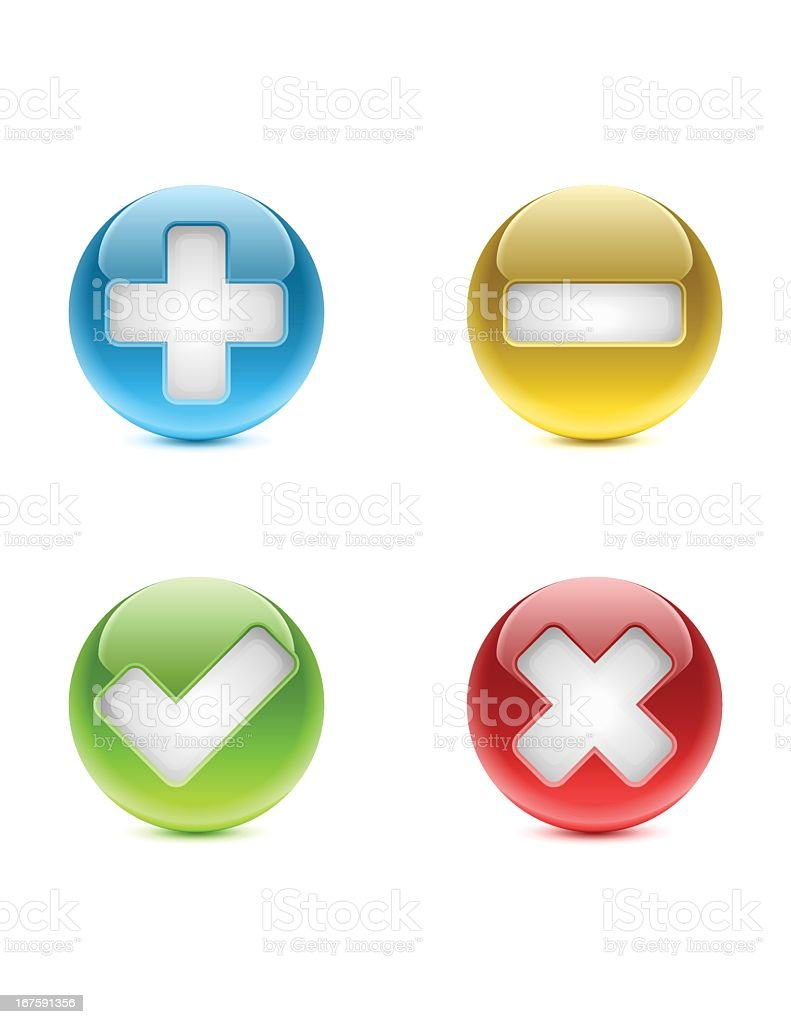 Web Buttons | Add, Substract, Approved, Denied royalty-free stock vector art