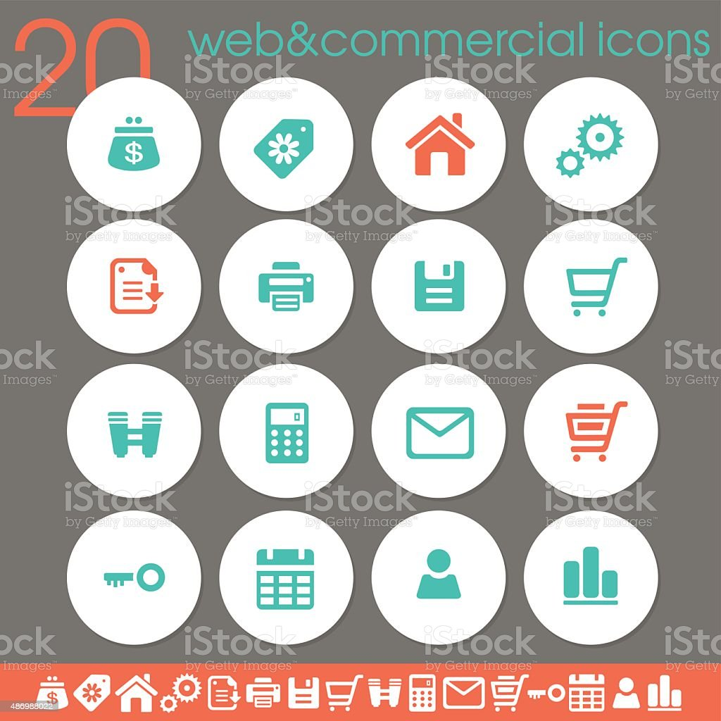 Web & Commercial icons | white circles collection vector art illustration