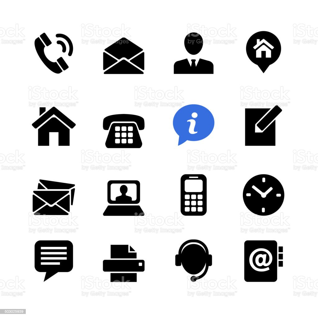 Web communication icon set: contact us vector art illustration