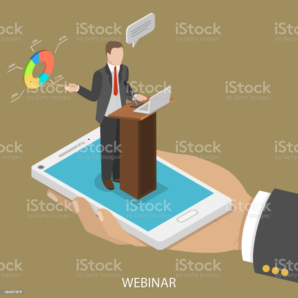 Web conference flat isometric vector concept. vector art illustration