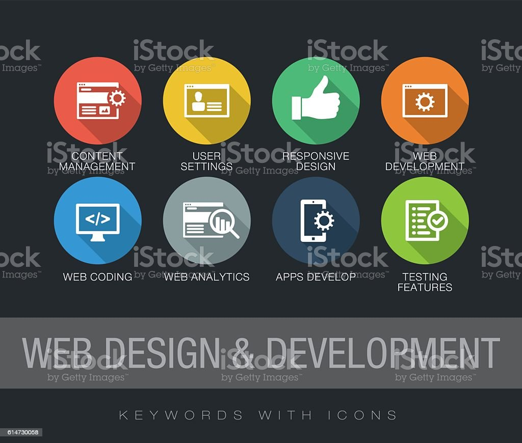 Web Design and Development keywords with icons vector art illustration