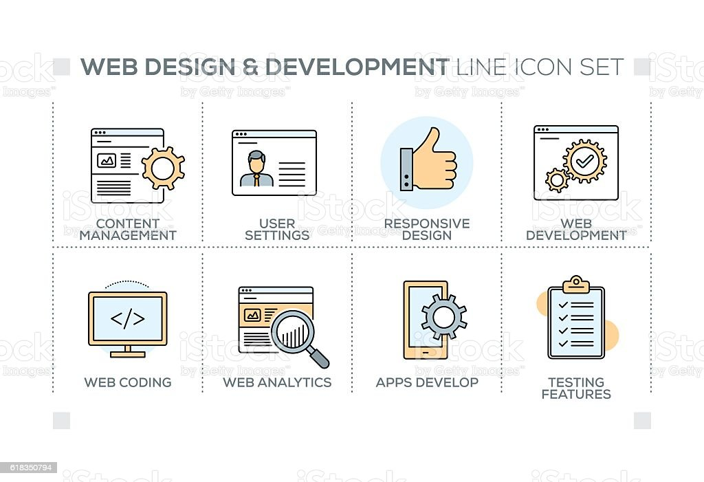 Web Design and Development keywords with line icons vector art illustration