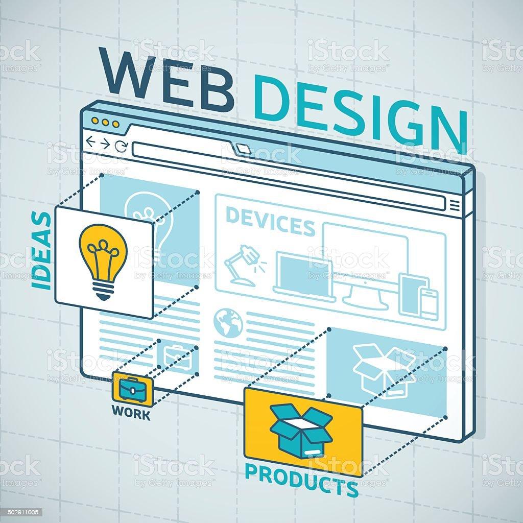 Web Design Browser vector art illustration