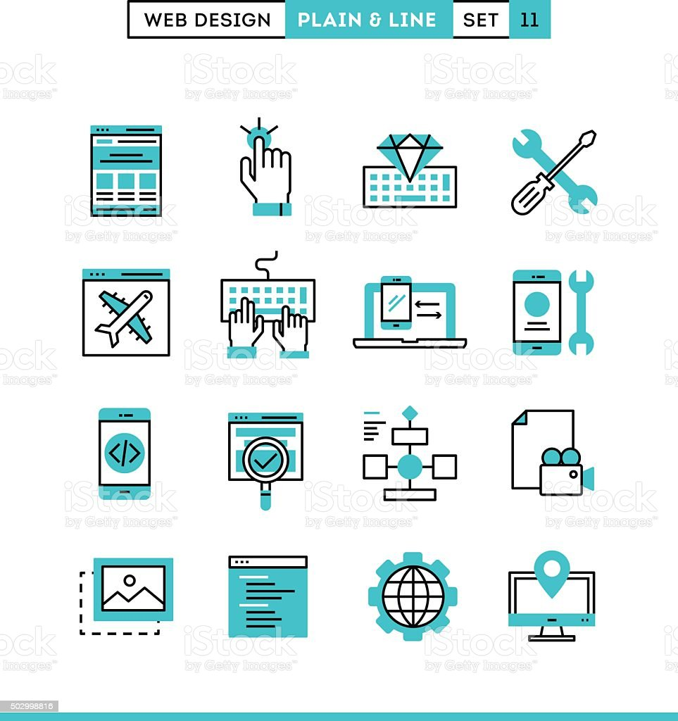 Web design, coding, responsive, app development and more. vector art illustration