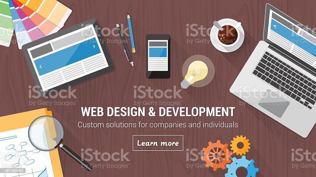 Web design concept desk vector art illustration