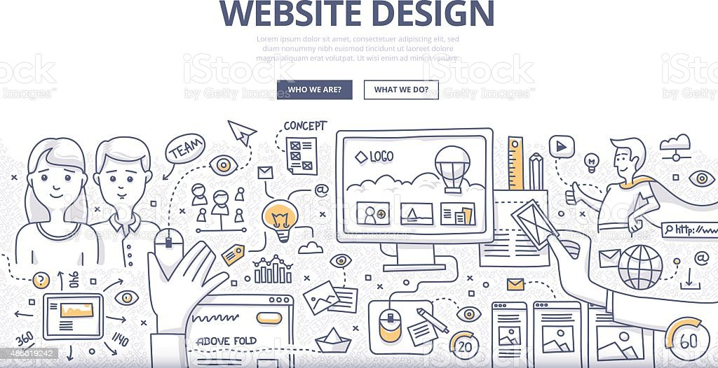 Web Design Doodle Concept vector art illustration
