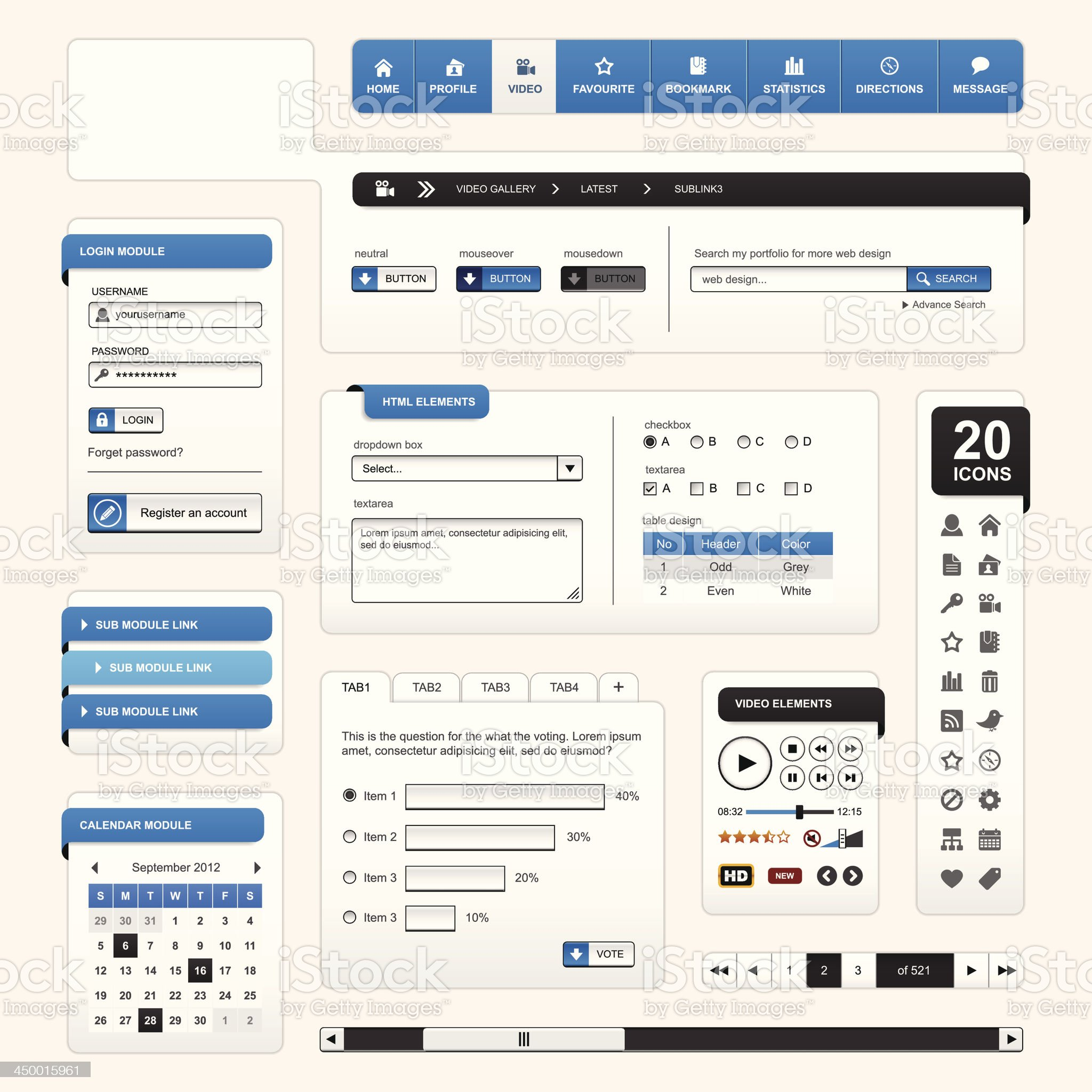 Web Design Element Blue royalty-free stock vector art