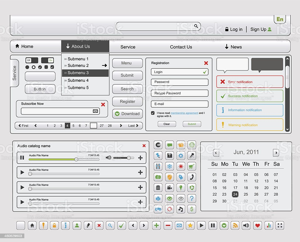 Веб-дизайн элементов набор. Часть 1 векторная иллюстрация