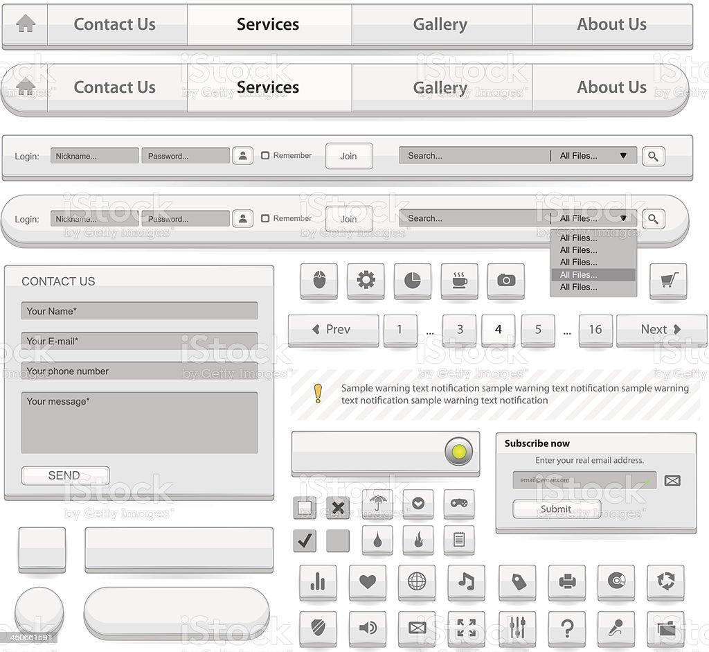 Веб-дизайн элементов набор. Белый векторная иллюстрация