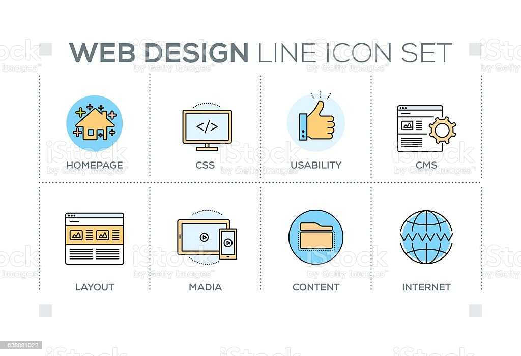 Web Design keywords with line icons vector art illustration