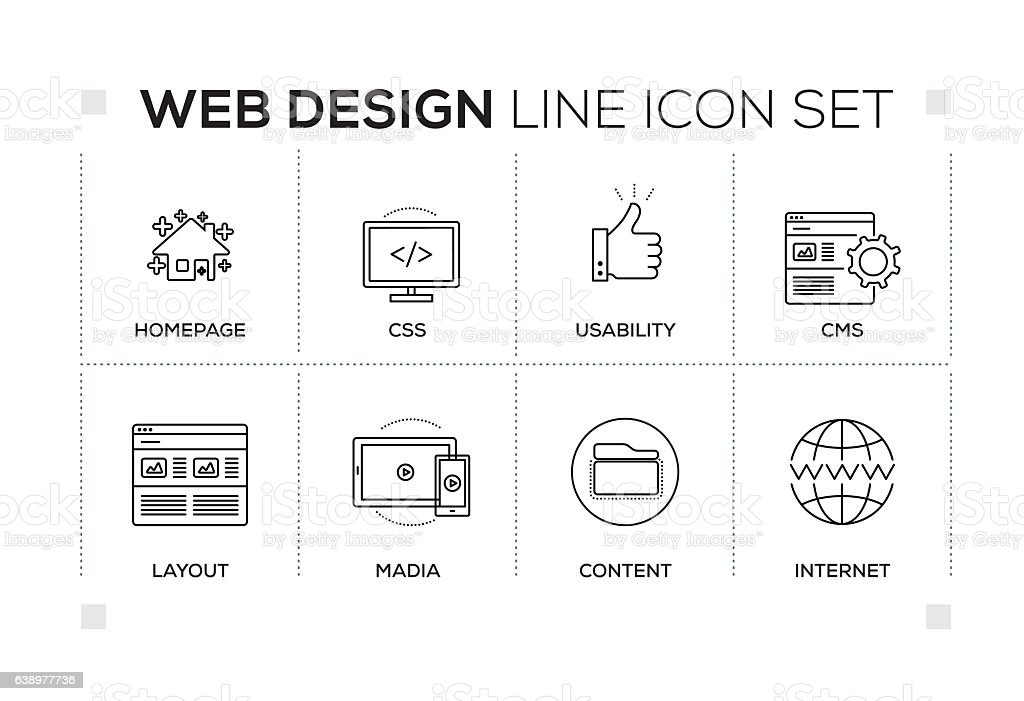 Web Design keywords with monochrome line icons vector art illustration