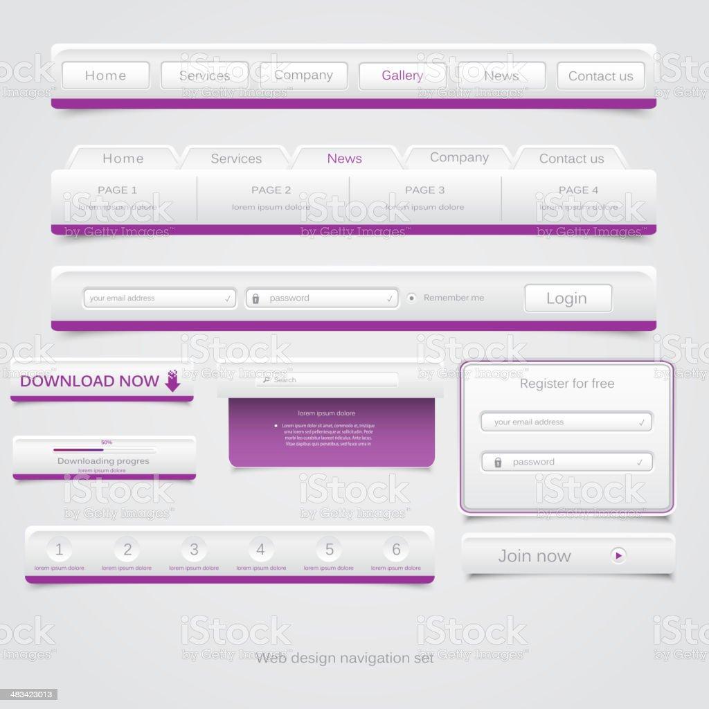 Web design navigation set royalty-free stock vector art