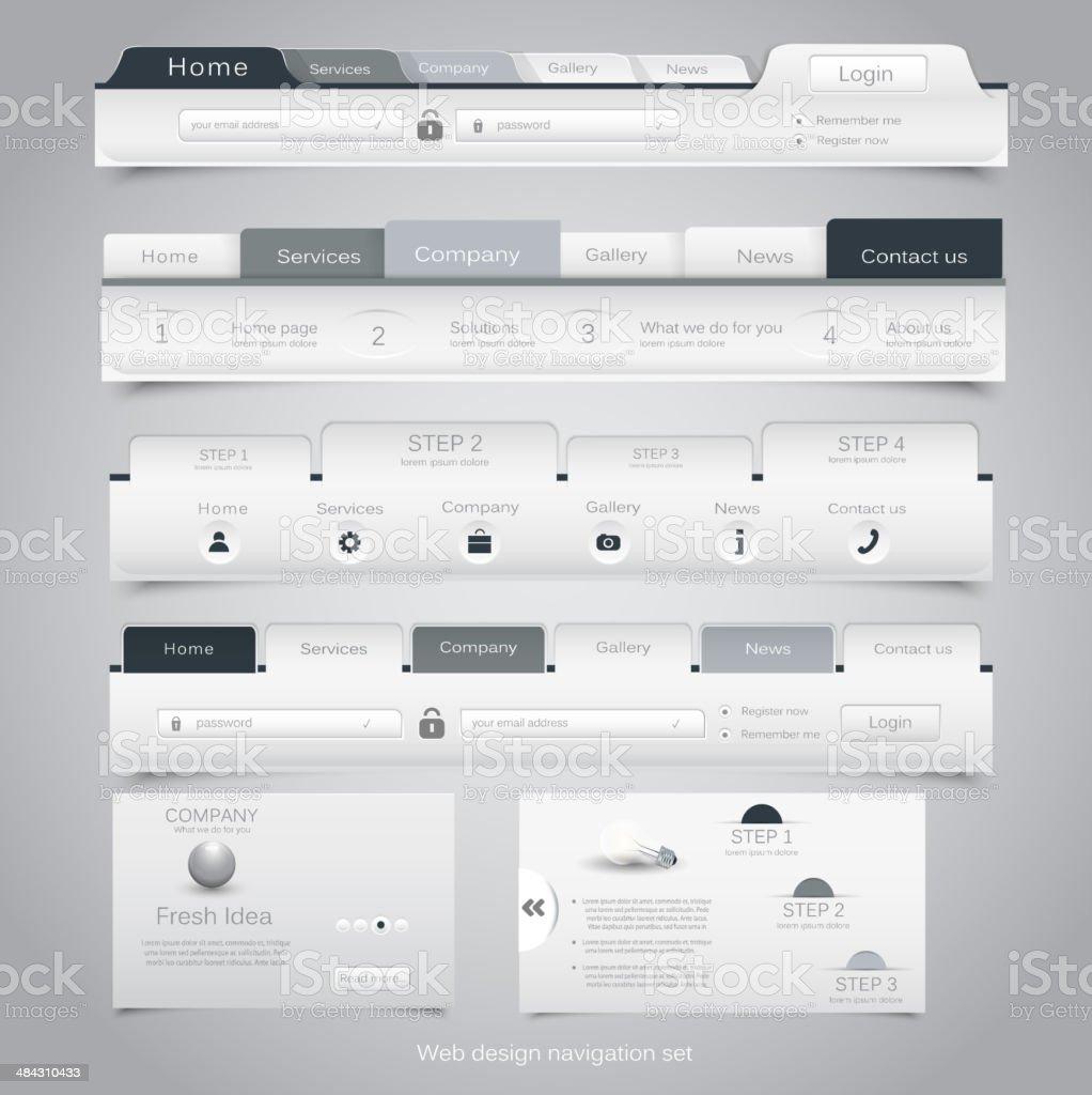 Web design navigation set. Vector royalty-free stock vector art