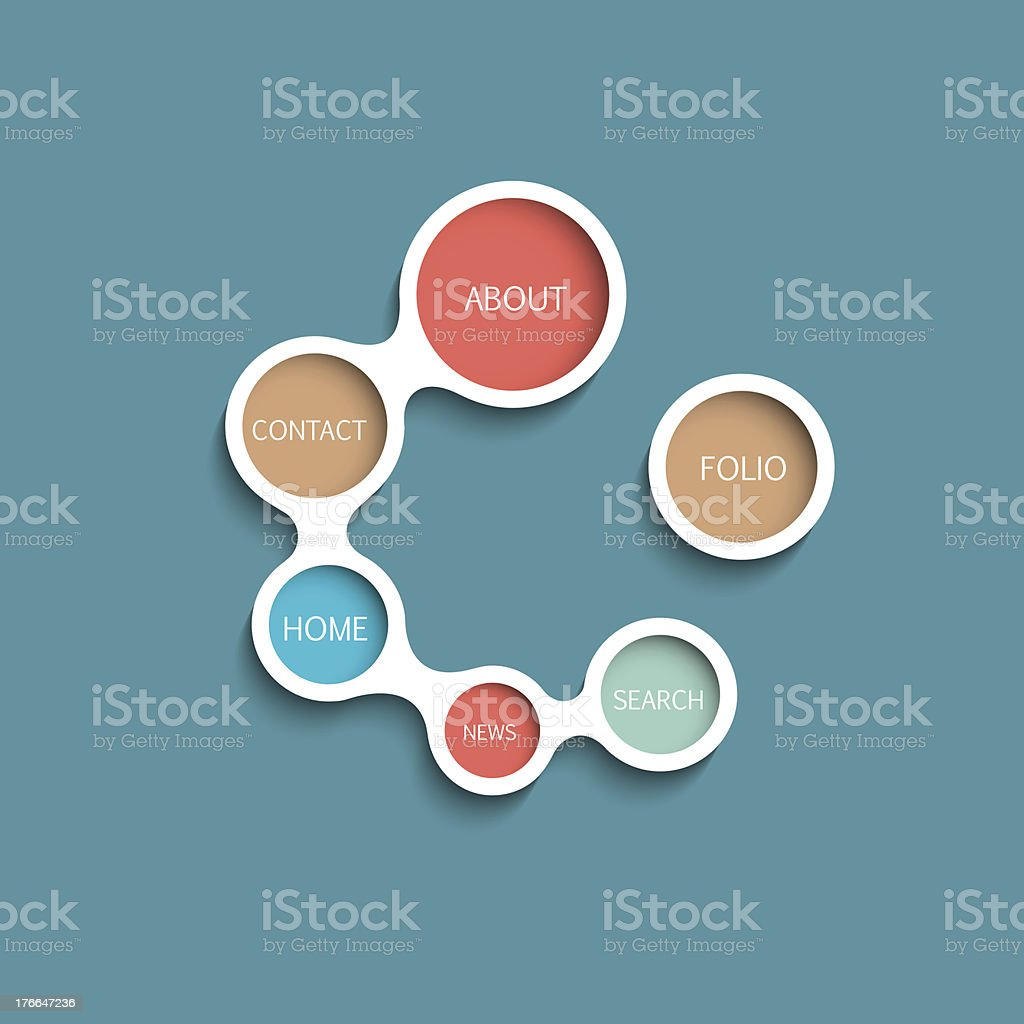 Web design template with circle sections on blue background royalty-free stock vector art
