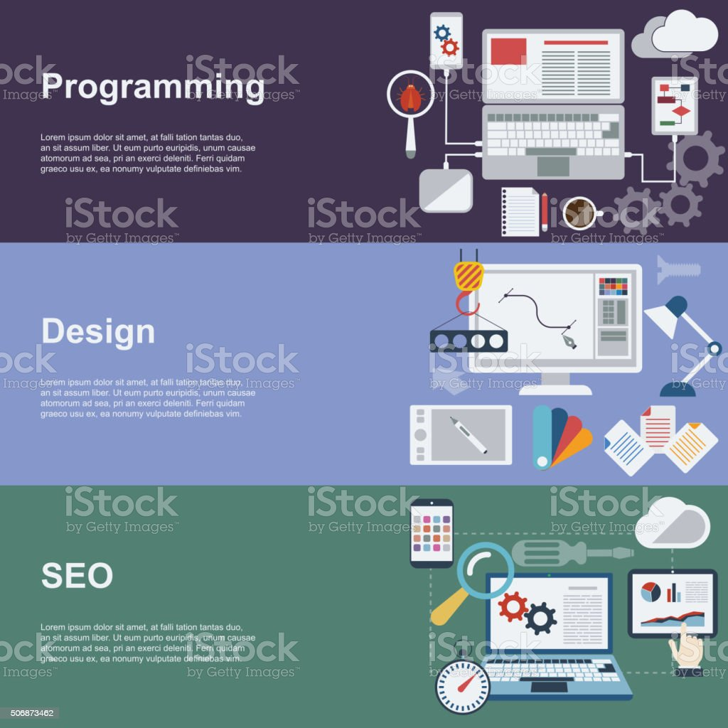 Web development banner set with coding seo and design elements. vector art illustration