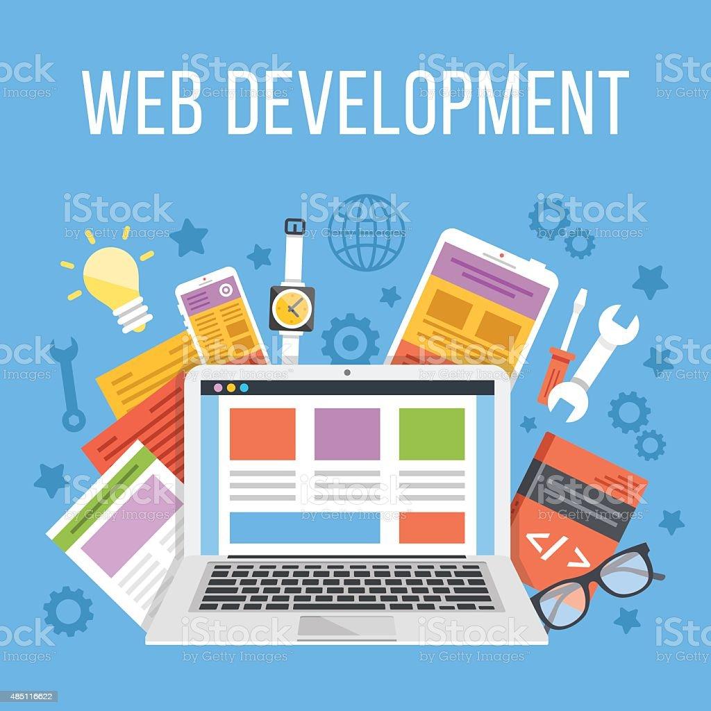 Web development flat illustration concept vector art illustration