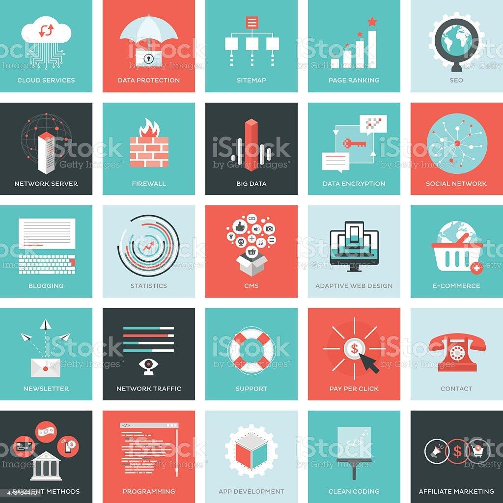 Web development icons vector art illustration