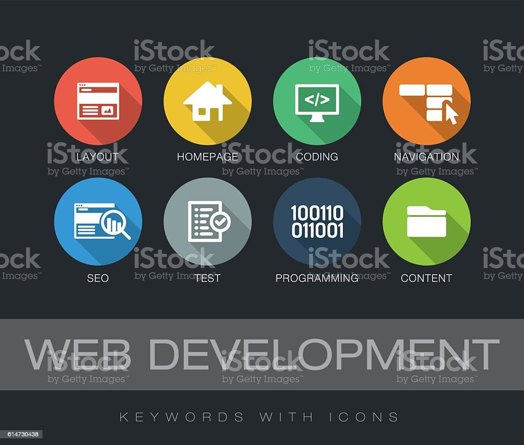 Web Development keywords with icons vector art illustration