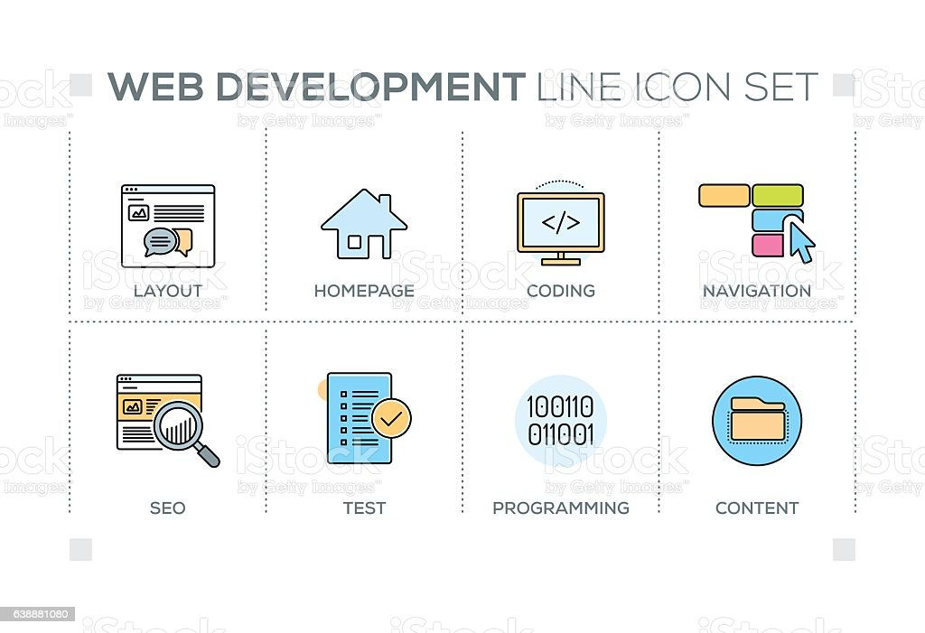 Web Development keywords with line icons vector art illustration