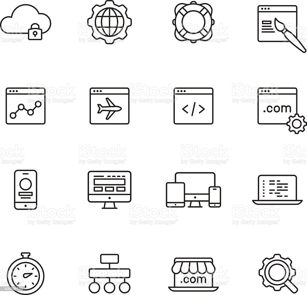Web Development Line Icons vector art illustration