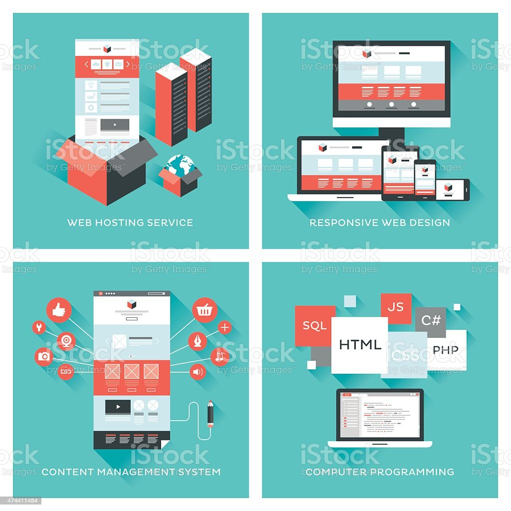 Web development set vector art illustration