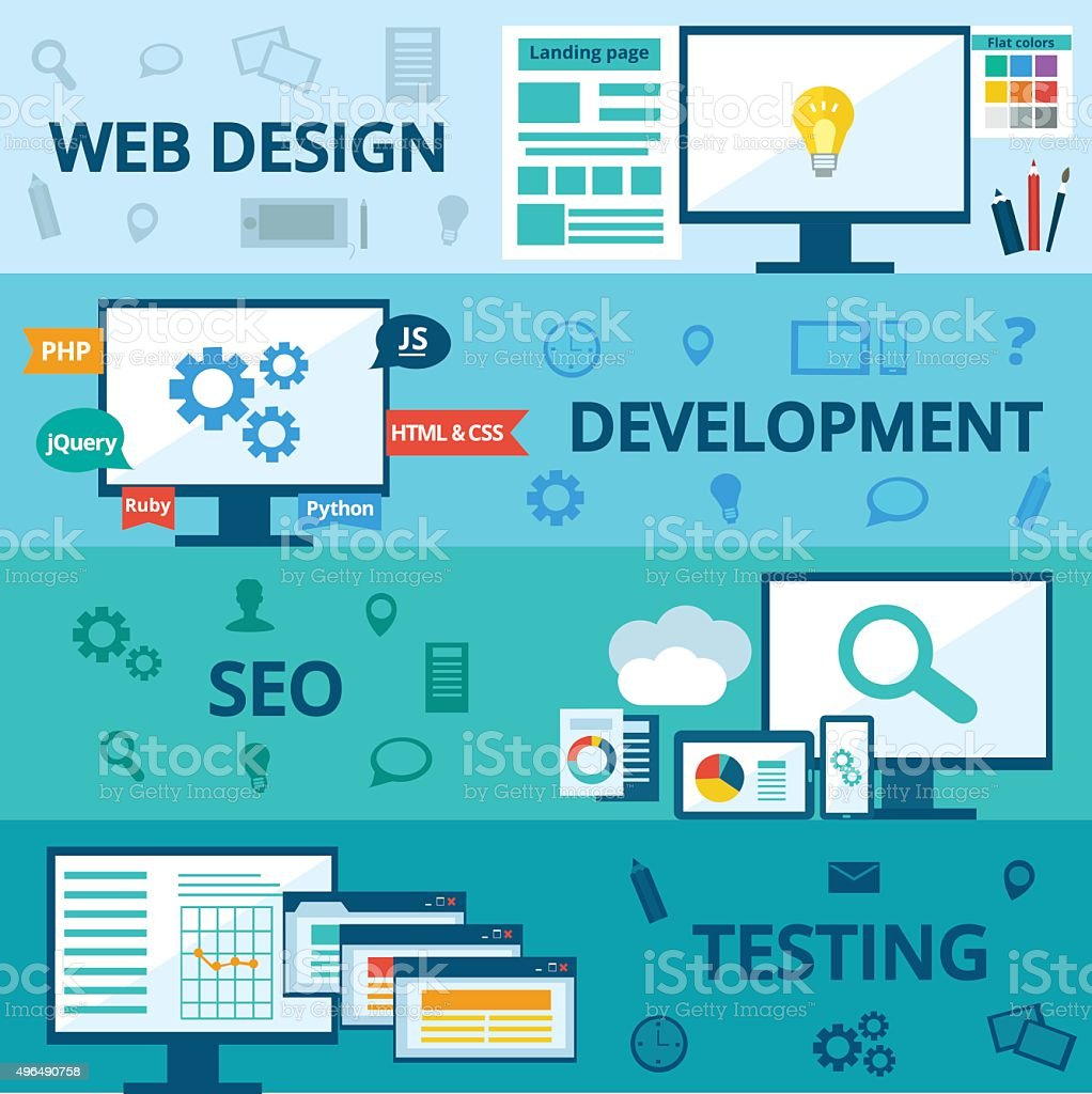 Web development vector art illustration