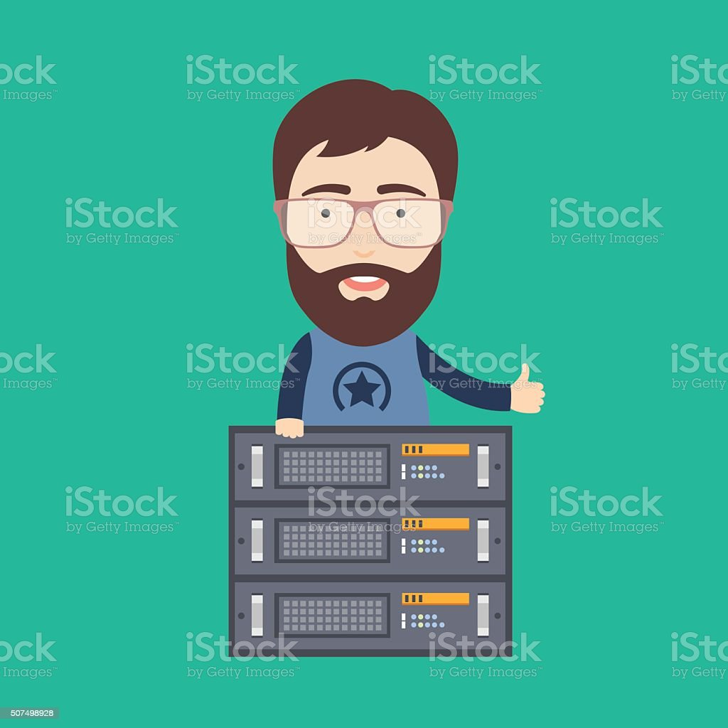 Web Hosting Administrator vector art illustration