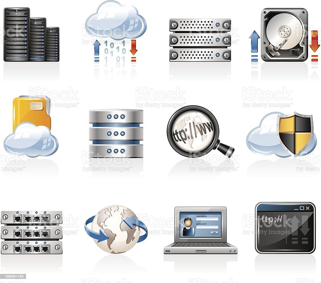 Web Hosting Icons vector art illustration