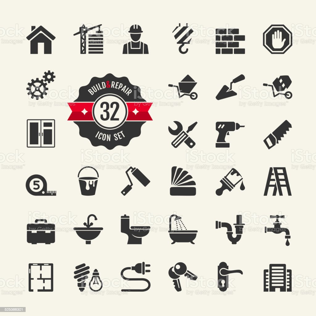 Web icon set - building, construction and home repair tools vector art illustration