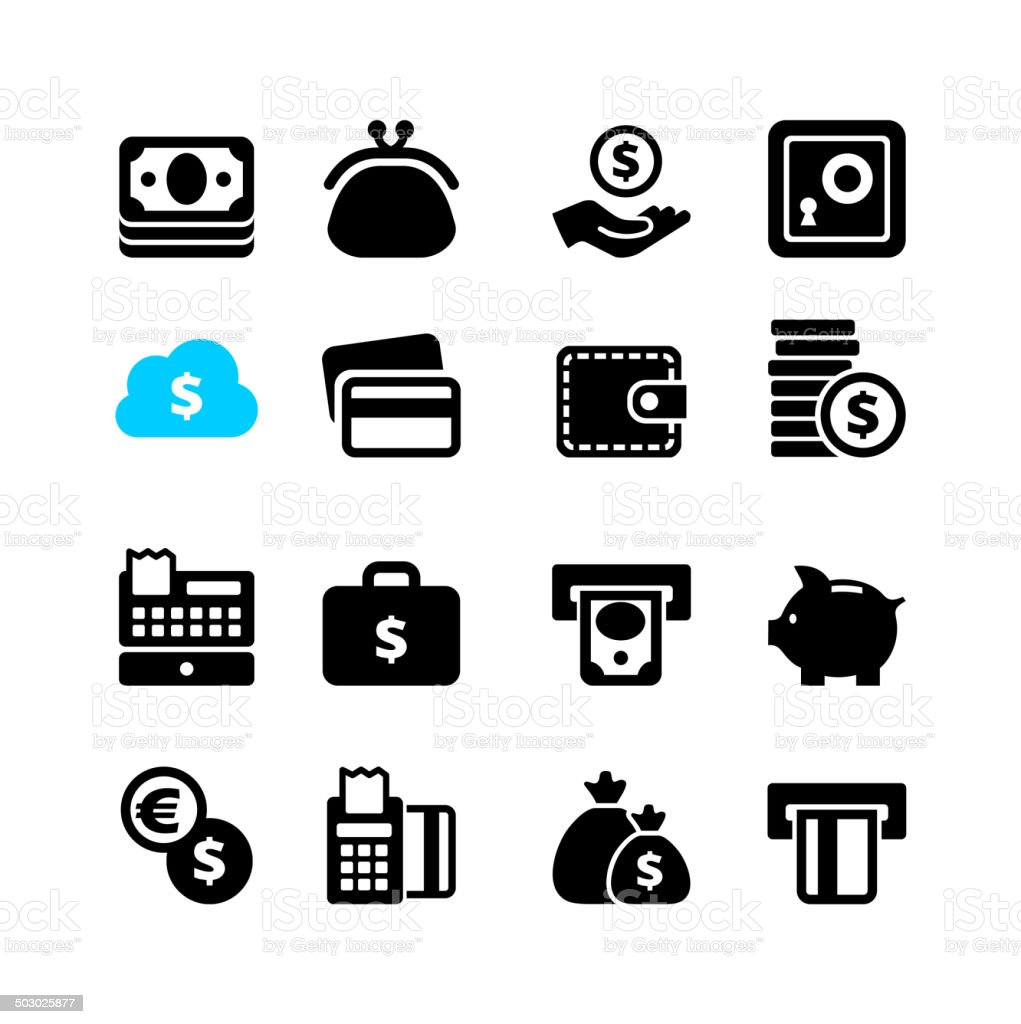 Web icon set - money, cash, card vector art illustration