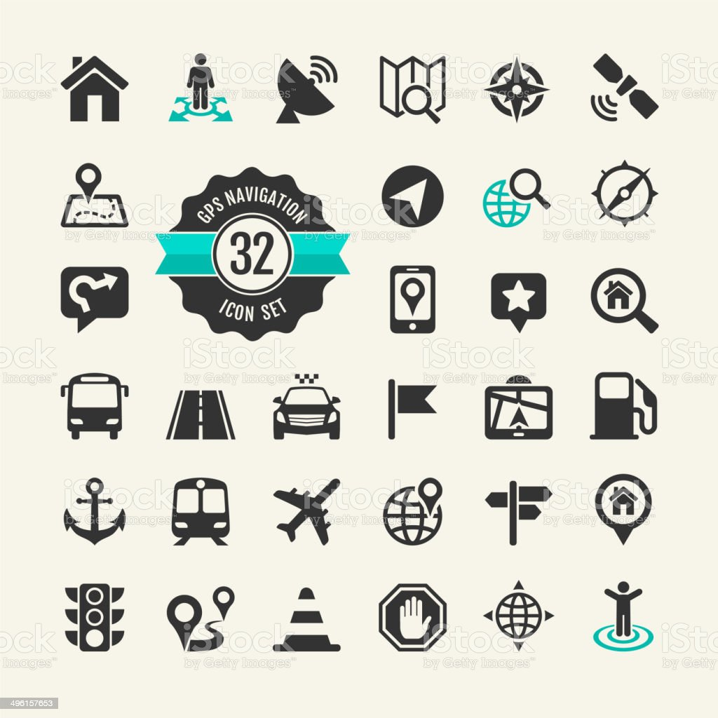 Web icon set - navigation, transport, map vector art illustration