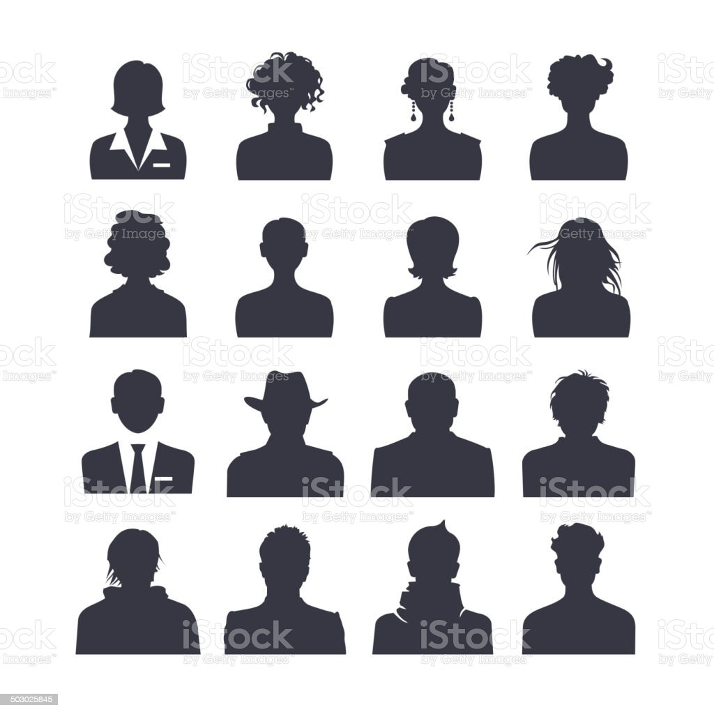 Web icon set of people avatars vector art illustration