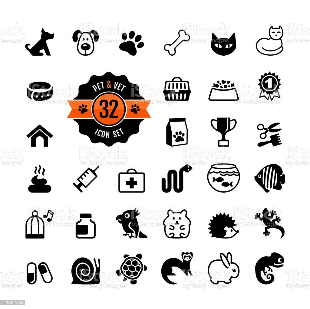 Web icon set - pet, vet, pet shop, types of pets vector art illustration
