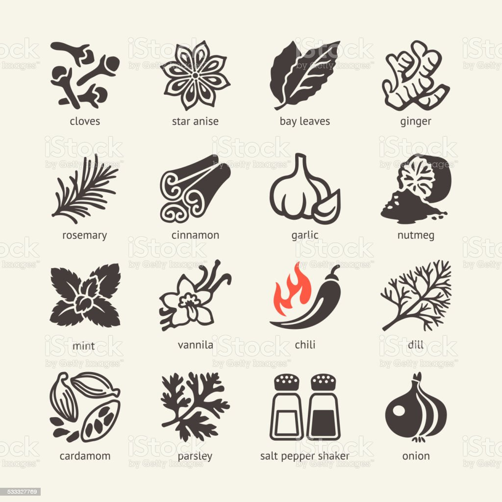 Web icon set - spices, condiments and herbs vector art illustration
