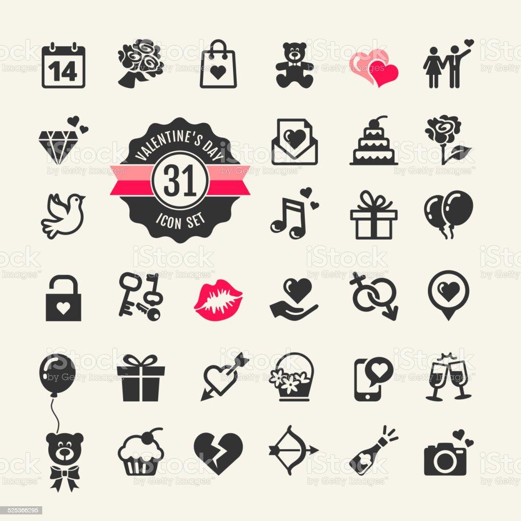 Web icon set - Valentine's day vector art illustration