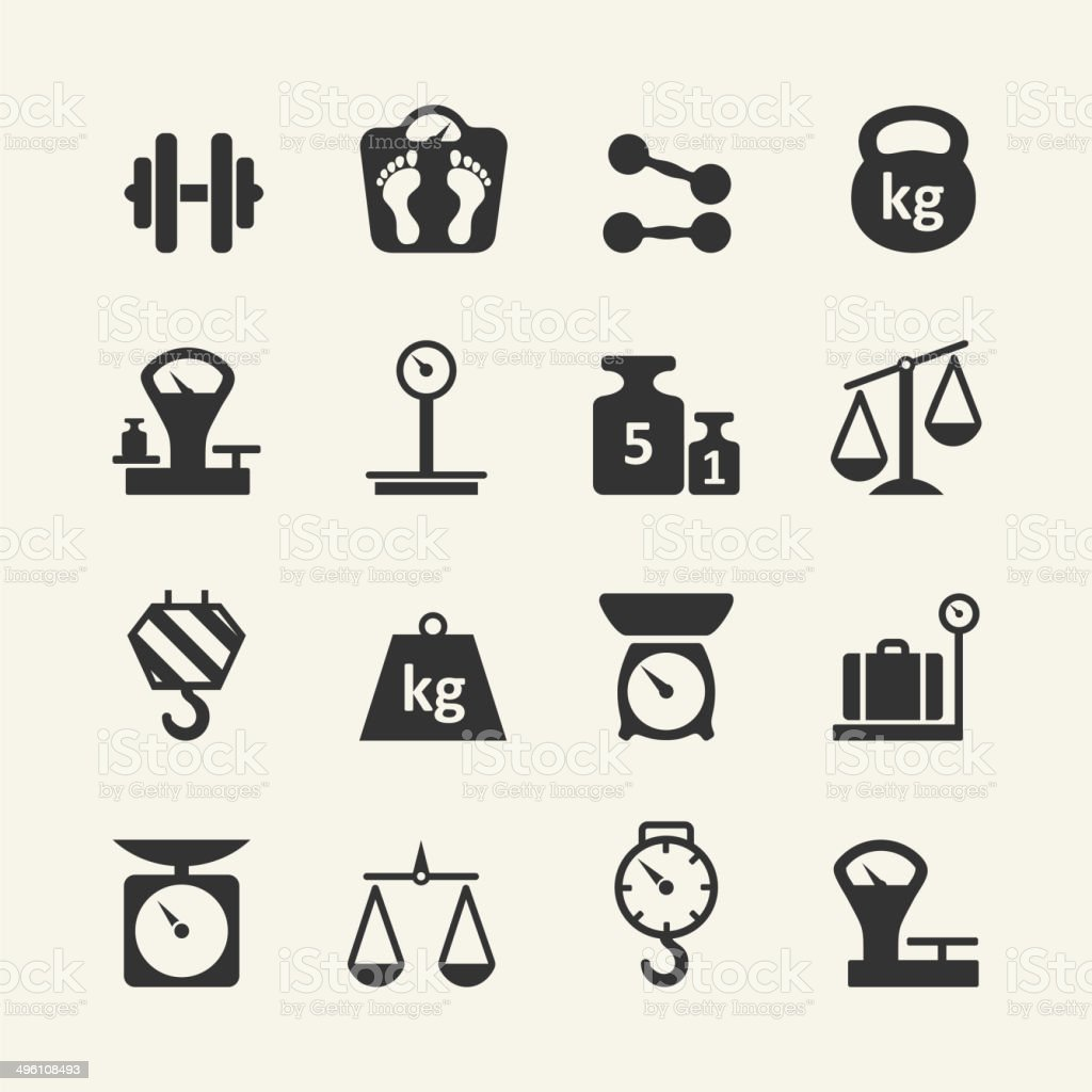 Web icon set - weighing vector art illustration