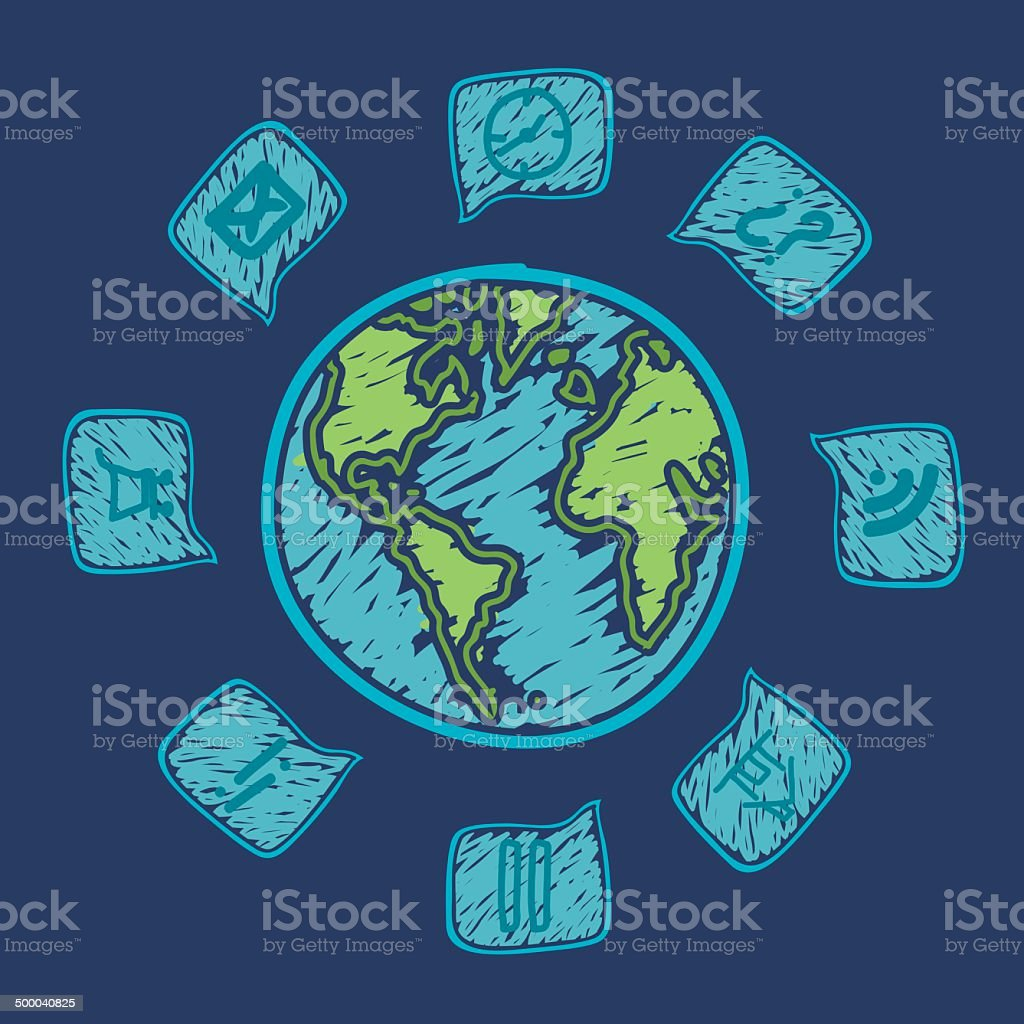 web icons around the planet royalty-free stock vector art