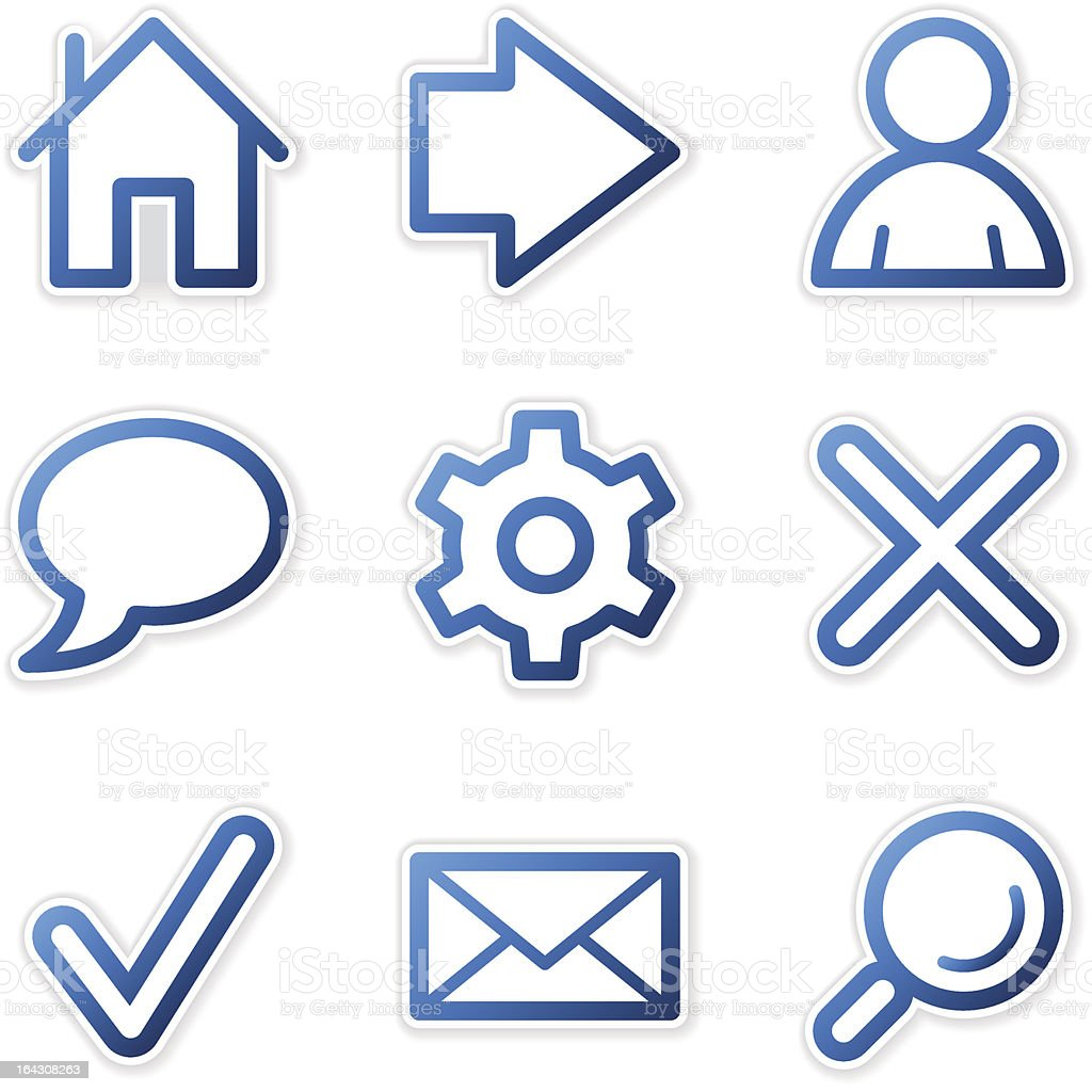 Web icons, blue contour series royalty-free stock vector art
