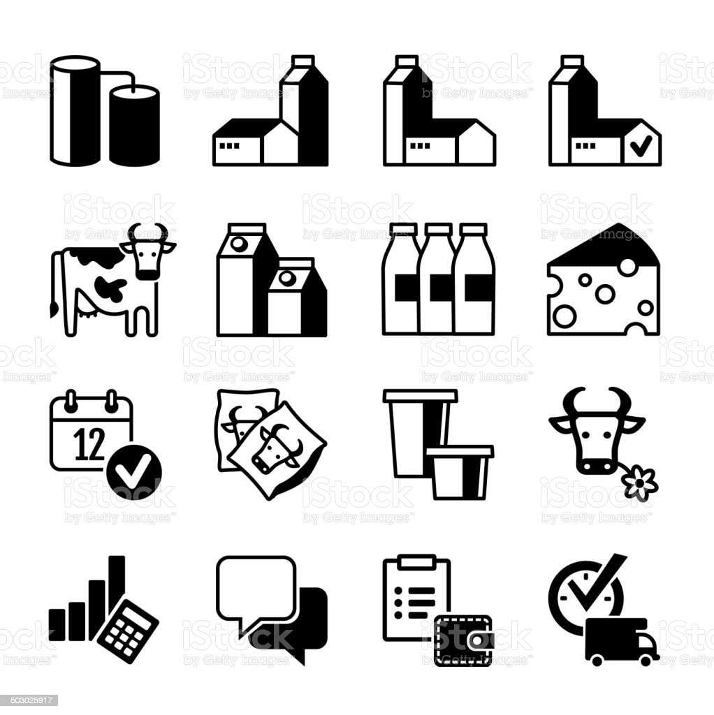Web icons collection - Dairy production vector art illustration