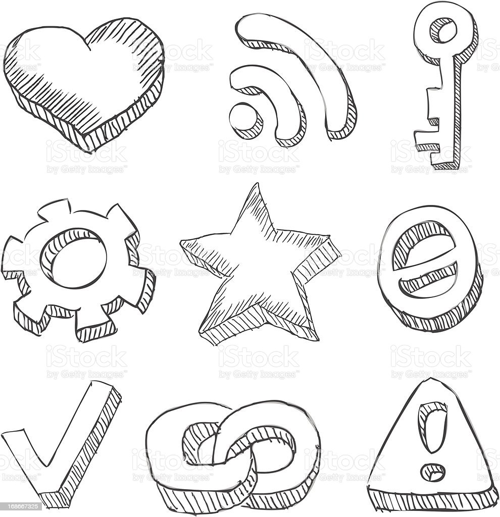 web icons hand drawn on white royalty-free stock vector art