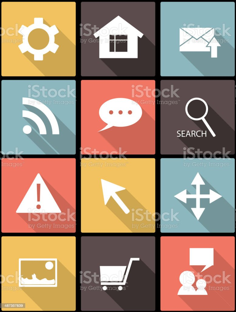 web icons in Flat Design royalty-free stock vector art