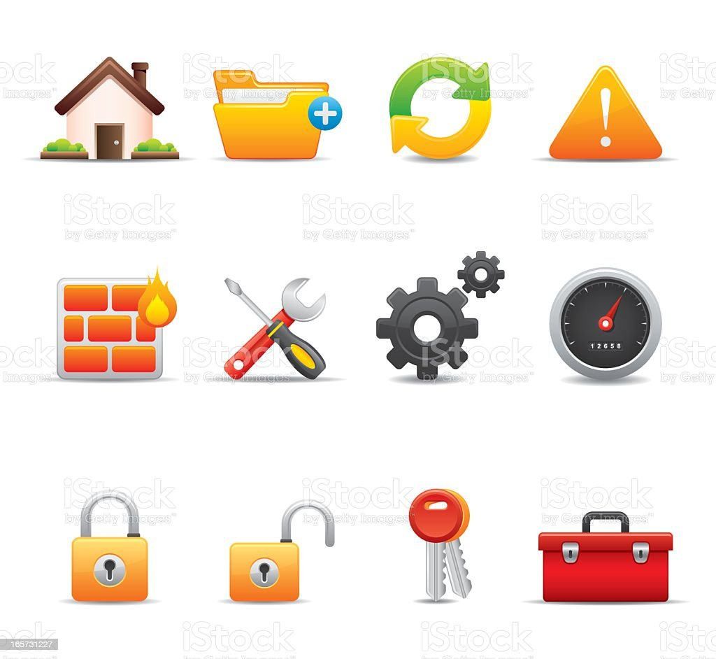 12 web icons of different tools royalty-free stock vector art